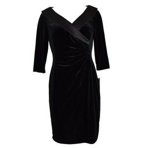 Tahari Arthur S Levine Rouched Velvet Dress 8P New